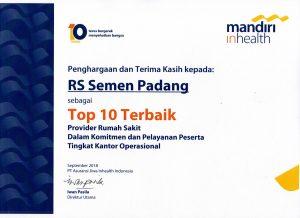 Semen Padang Hospital Meraih Penghargaan Sebagai Top 10 Terbaik